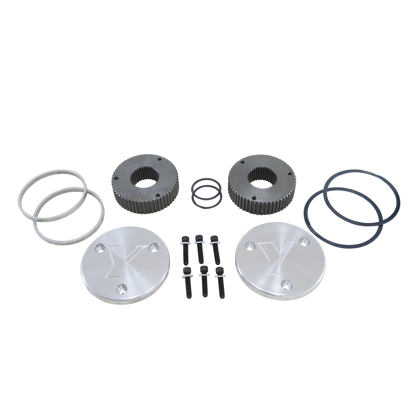YHC50005 - Yukon Hardcore Drive Flange Kit Dana 60 35-Spl Outer Stubs with Yukon Engraved Caps