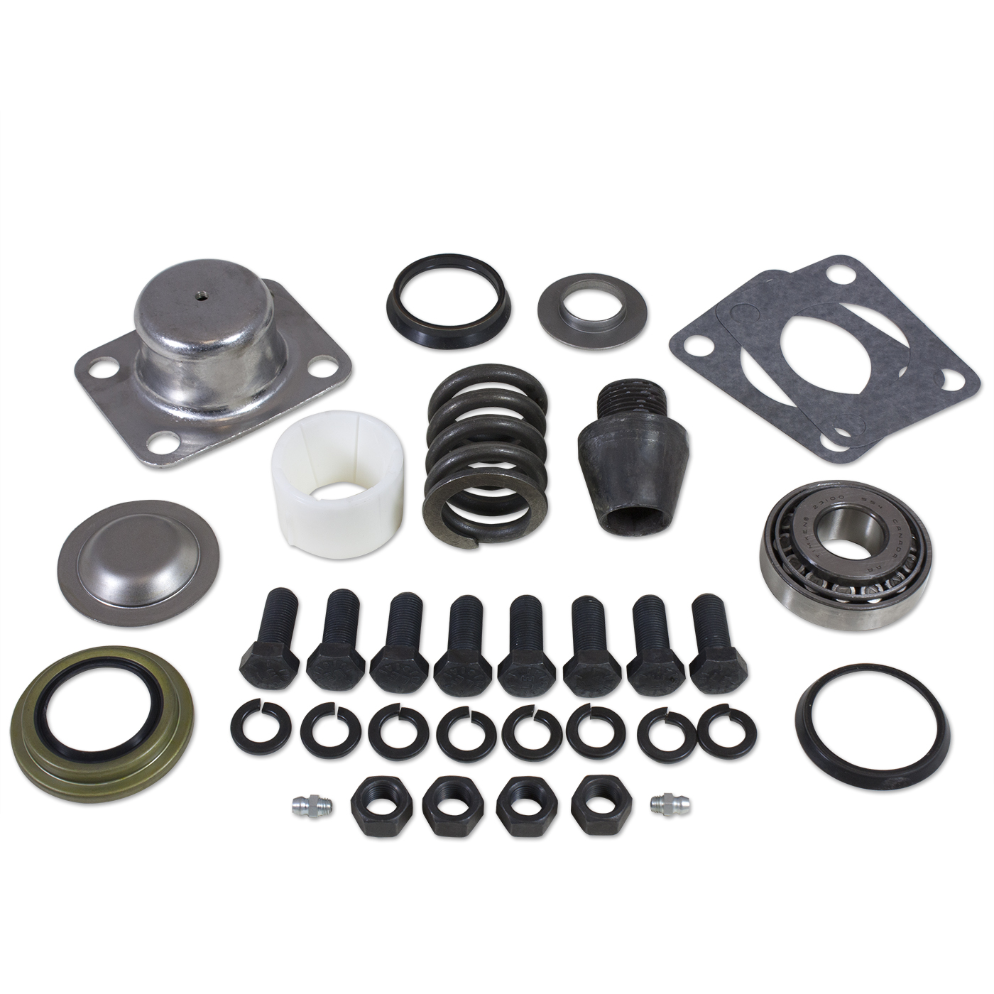 YP KP-001 - Replacement king-pin kit for Dana 60(1) side (pin, bushing, seals, bearings, spring, cap).